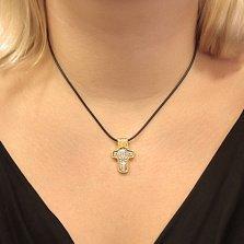 Серебряный крестик с позолотой и чернением Святой Николай