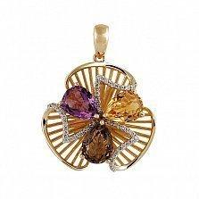 Кулон из желтого золота с аметистом, раухтопазом, цитрином и бриллиантами Жизель