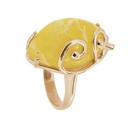 Эксклюзивное золотое кольцо Символ солнца с натуральным янтарём 000060079