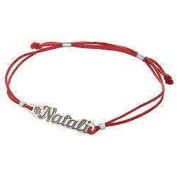 Шелковый браслет Natali с резной серебряной вставкой 000055023