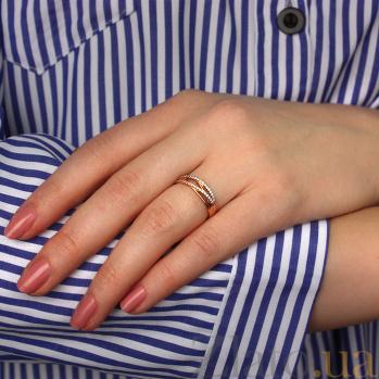 Кольцо в красном золоте Зарождение чувств с прозрачными фианитами 000023289
