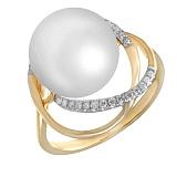 Кольцо из желтого золота Алина с жемчугом и бриллиантами