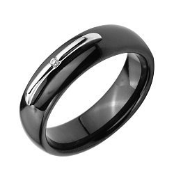 Кольцо из черной керамики и серебра с фианитом 000131772