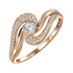 Кольцо из красного золота с фианитами 000150330