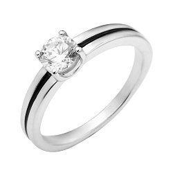 Серебряное кольцо с черной эмалью и цирконием Swarovski 000129728