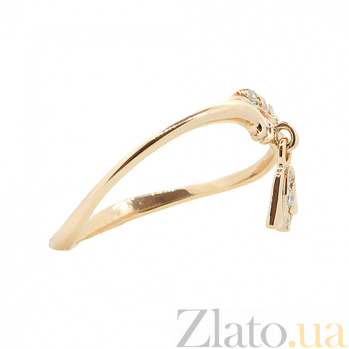 Золотое кольцо в красном цвете с бриллиантами Morning 000021409