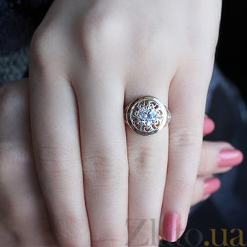 Серебряное кольцо с золотой вставкой и цирконием Планета BGS--469к
