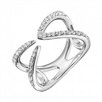 Серебряное разомкнутое кольцо с фианитами 000133954
