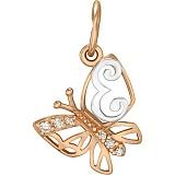 Золотой подвес Мотылек - буква Е с фианитами