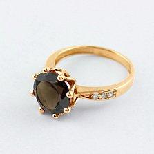Золотое кольцо с раухтопазом и фианитами Колумбине