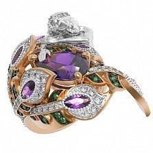 Золотое кольцо Сирена с аметистом