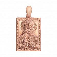 Золотая прямоугольная ладанка Святой Николай Угодник с узором по периметру