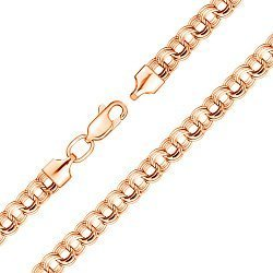 Браслет из красного золота в плетении бисмарк 000129352