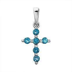 Серебряный декоративный крестик с лондон топазами 000137579
