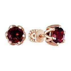 Серьги-пуссеты из красного золота с гранатами 000140096