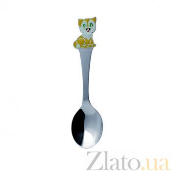 Серебряная ложка чайная детская Кот-часы с эмалью ZMX--1285_1210