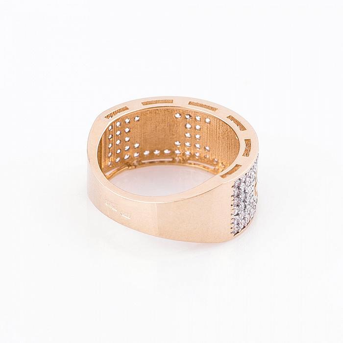 Золотое кольцо Симона в желтом цвете с белыми фианитами в стиле Картье  000082363