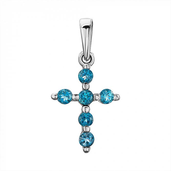 Серебряный декоративный крестик с лондон топазами 000137579 000137579