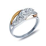 """Кольцо из серебра с золотом и белым цирконием """"Монтеверде"""""""