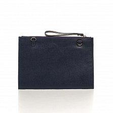 Кожаный клатч Genuine Leather 1405 темно-синего цвета с короткой ручкой на запястье