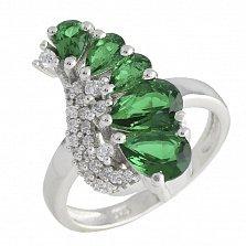 Серебряное кольцо Орабель с синтезированным изумрудом и фианитами
