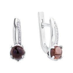 Серебряные серьги с дымчатыми кварцами и фианитами в класическом дизайне 000104751