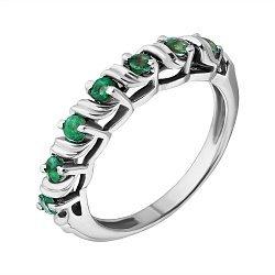 Серебряное кольцо с изумрудами Приам