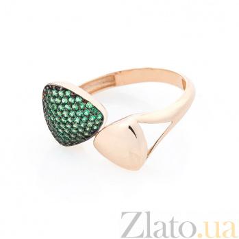 Золотое кольцо Волшебные треугольники в красном цвете с зелеными фианитами 000082372