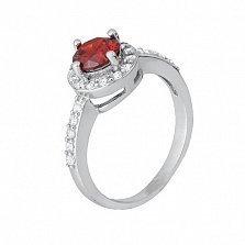 Серебряное кольцо с красным цирконием Магдала