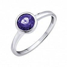 Серебряное кольцо Ревайт с завальцованным аметистом