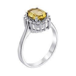 Серебряное кольцо с желтым хризолитом и фианитами 000134874