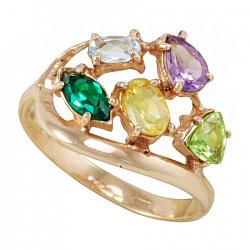 Золотое кольцо Дафна с синтезированным изумрудом, цитрином, хризолитом, аметистом и топазом