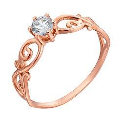 Золотое кольцо в красном цвете с фианитом 000095282
