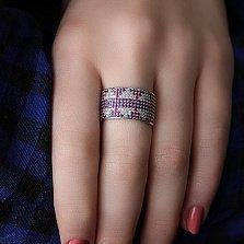 Серебряное кольцо Зимний Орнамент с фианитами