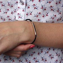 Кожаный браслет Алексис с золотыми вставкой и застежкой