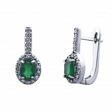 Серьги серебряные с зеленым агатом и цирконами Клеопатра