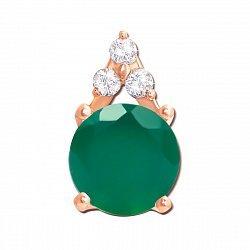Кулон из красного золота с зеленым агатом и фианитами 000133440