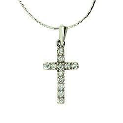 Золотой декоративный крестик с бриллиантами 000021693