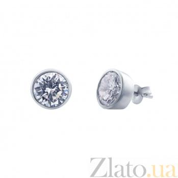 Серьги-гвоздики из серебра с куб. цирконом Юта AQA--221550003