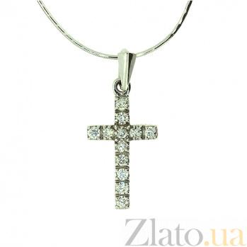 Золотой декоративный крестик с бриллиантами Мадея ZMX--PD-13279w_K