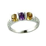 Кольцо в белом золоте с цитринами, аметистами и бриллиантами
