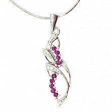 Серебряная подвеска с рубинами и бриллиантами Бланес
