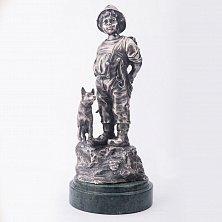 Серебряная статуэтка ручной работы Мальчик с собакой (копия изделия XIX века)