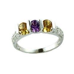 Кольцо в белом золоте с цитринами, аметистами и бриллиантами 000021528