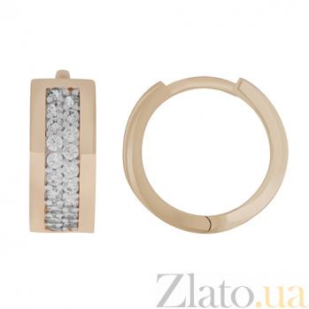 Золотые сережки Криола с фианитом 000023376