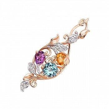 Золота брошка з аметистом, цитрином, блакитним топазом і фіанітами 000124330