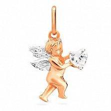 Подвес из золота с цирконием Ангел с сердцем