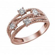 Кольцо из красного золота Весна с бриллиантами