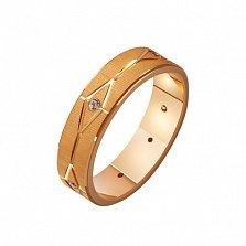 Золотое обручальное кольцо Лабиринт любви с фианитами
