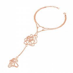 Золотой многослойный браслет-слейв Утонченность в красном цвете с фианитами